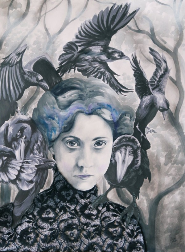"""""""Be My Wings"""" mixed media by Allise Noble"""