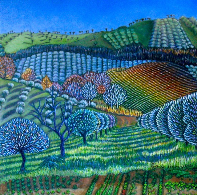 Laughing-Hills-(Controguerra)-oil-on-panel-painted-by-Carla-Strozzieri