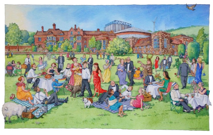 """A Glyndebourne Picnic"" pen & watercolour by Lyndsey Smith"