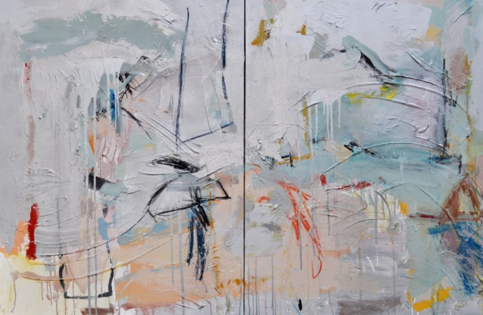 """""""Childhood Memories"""" diptych on stretched canvas by Janis Kirstein"""
