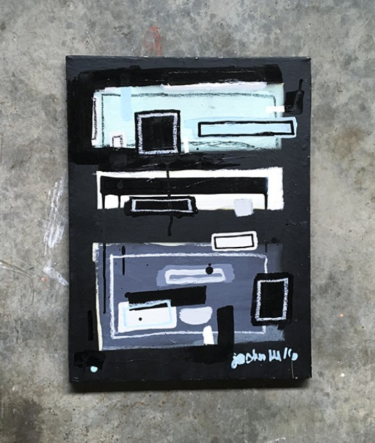"""""""After Rothko #1"""" acrylic, oil pen and oil crayon on found canvas by Joshua Lee"""