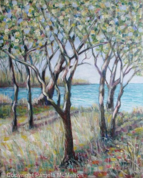 """""""Light at the Edge of the Lake"""" acrylic painting by Pamela McMahon"""