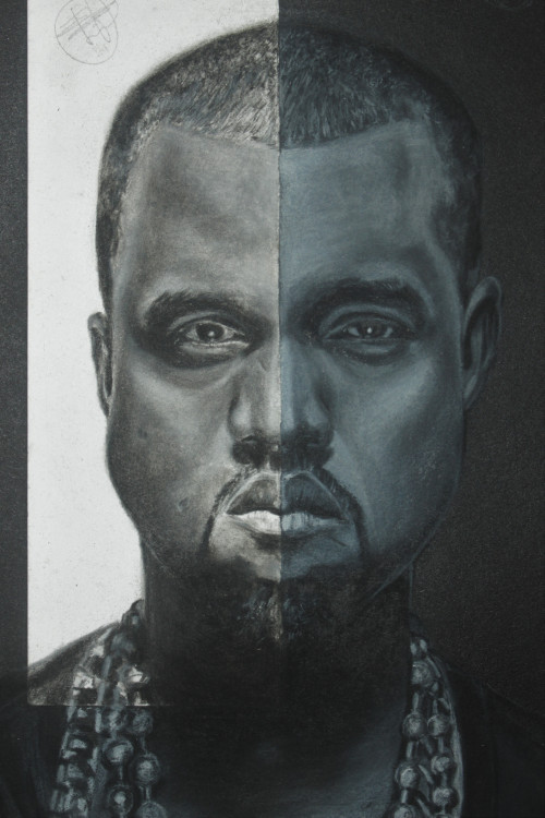 """Kanye West"" charcoal on paper by Omoijiade Joshua"