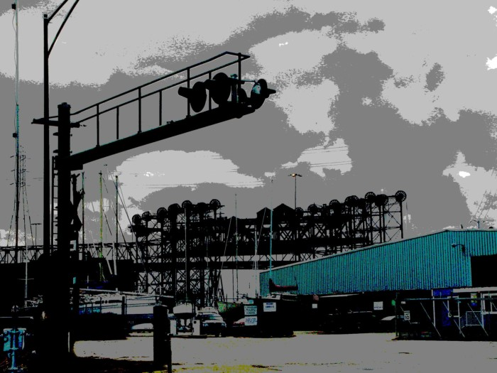 """""""Lift Bridges and Boat Shed"""" photography by Leon Sarantos"""