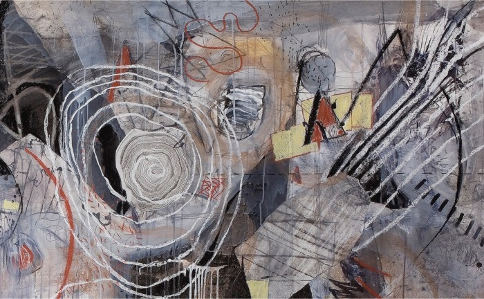 """""""First Cut - Isolation"""" mixed media collage by Jill Wilkinson"""