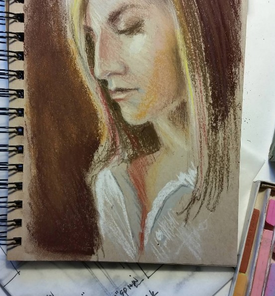 """""""Anna"""" pastel sketch on paper by Juliana Inman"""