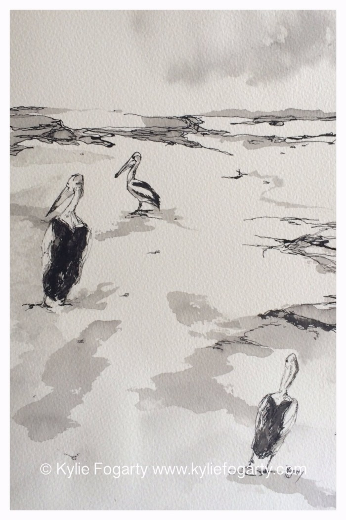 """""""3 Pelicans"""" ink painting by Kylie Fogarty"""
