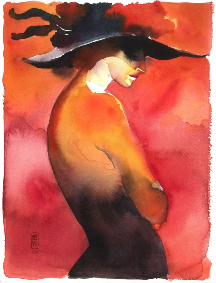 """Woman with Hat"" watercolor by Alessandro Andreuccetti"