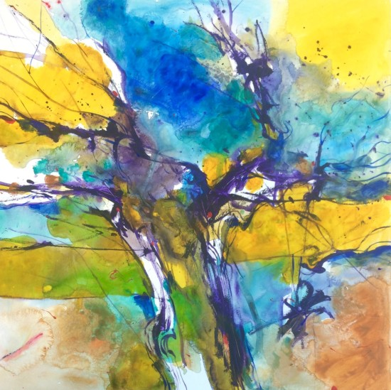 """""""Abstract Tree"""" acrylic painting by Alessandro Andreuccetti"""