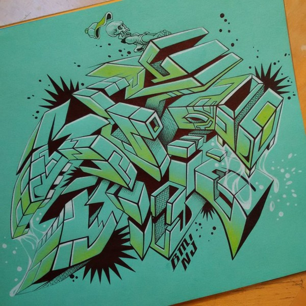 """Graffiti's Grimacing Growl... Quejido"" pen & colored pencil by Alfredo Gomez Jr"