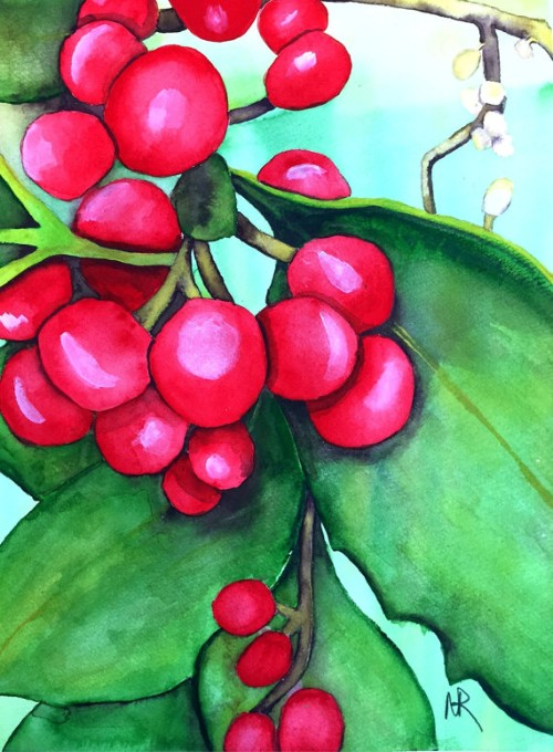 """""""Holly"""" watercolor by Nancy Riedell"""