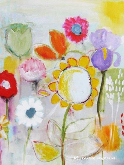 """""""My Mother's Garden"""" acrylic and pencil by Colette Copeland"""