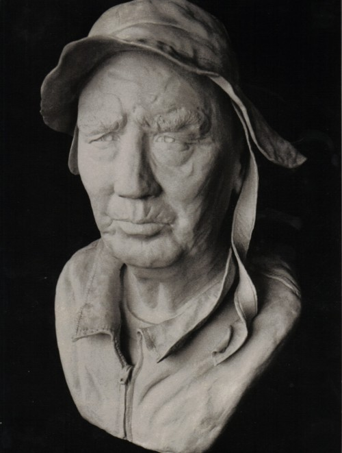 """The Waterman"" clay portrait bust by Cathie Cordova Oldham"