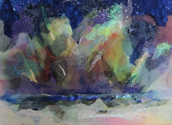 """""""Northern Lights"""" textile art by Barbara Shaw"""