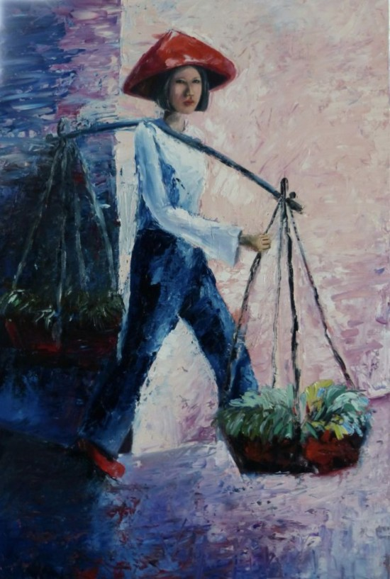"""""""The Vietnamese Lady"""" oil on canvas by Ta Thaimakeo"""