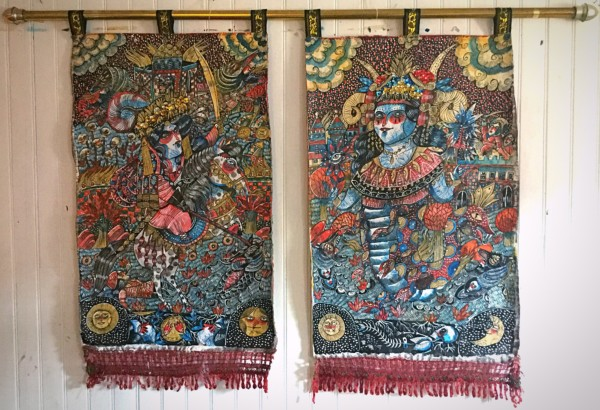 """""""Shahmeran"""" acrylic & embroideries on tapestry by Mina Mond"""