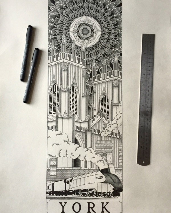 """""""York"""" pen & ink on paper by Rich Banks"""