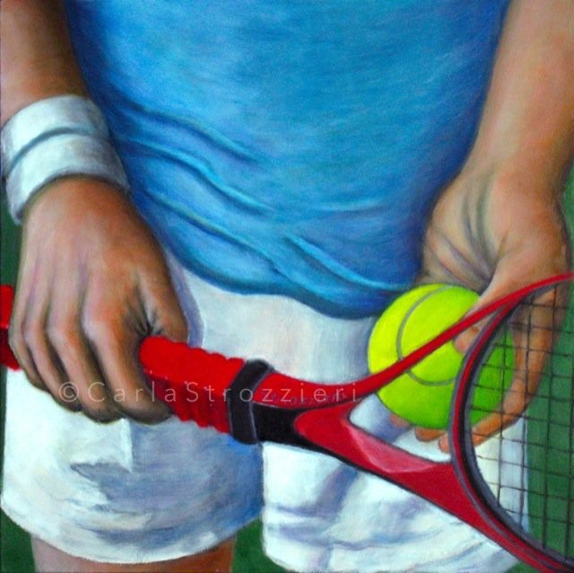 """""""Tennis Between Shots"""" oil painting by Carla Strozzieri"""