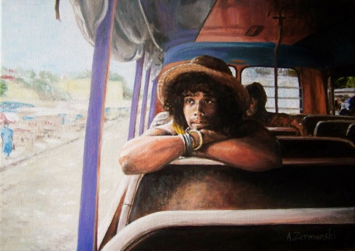 """""""JP On The Bus"""" oils on canvas by Andy Zermanski"""