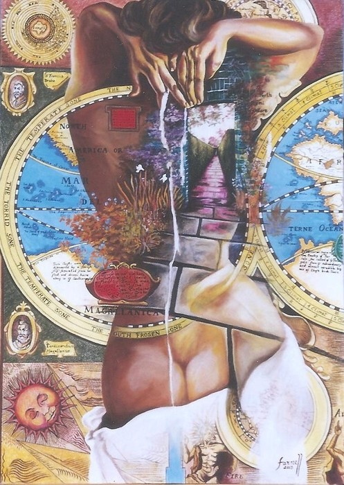 """""""Prólogo II"""" mixed media on paper and wood by Gabriela Farnell"""