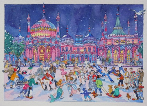 """Brighton Skaters at the Royal Pavilion"" watercolor by Lyndsey Smith"