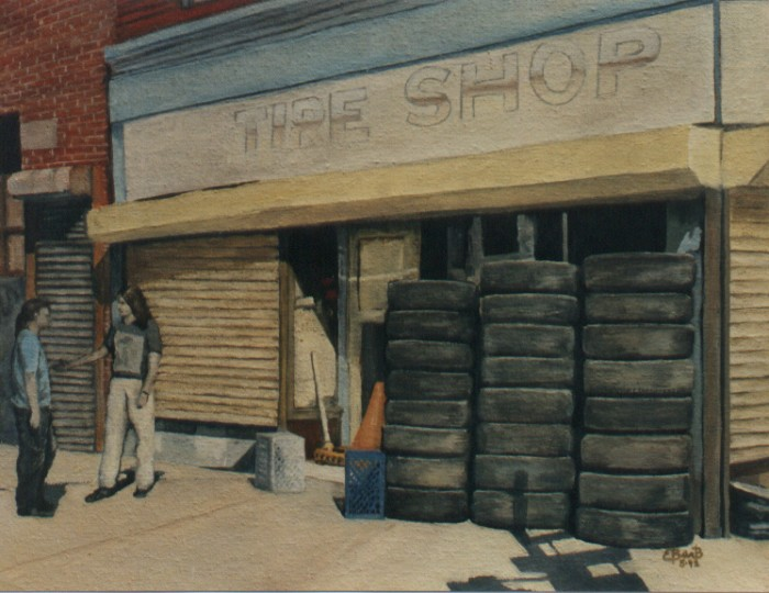 """""""Tire Shop"""" painting by Louis Ebarb"""