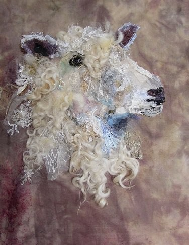 """""""Cotswold Sheep #11"""" textile art by Barbara Shaw"""