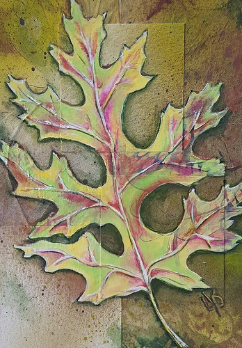 """""""Oakleaf"""" mixed media collage by Delphine Peller"""